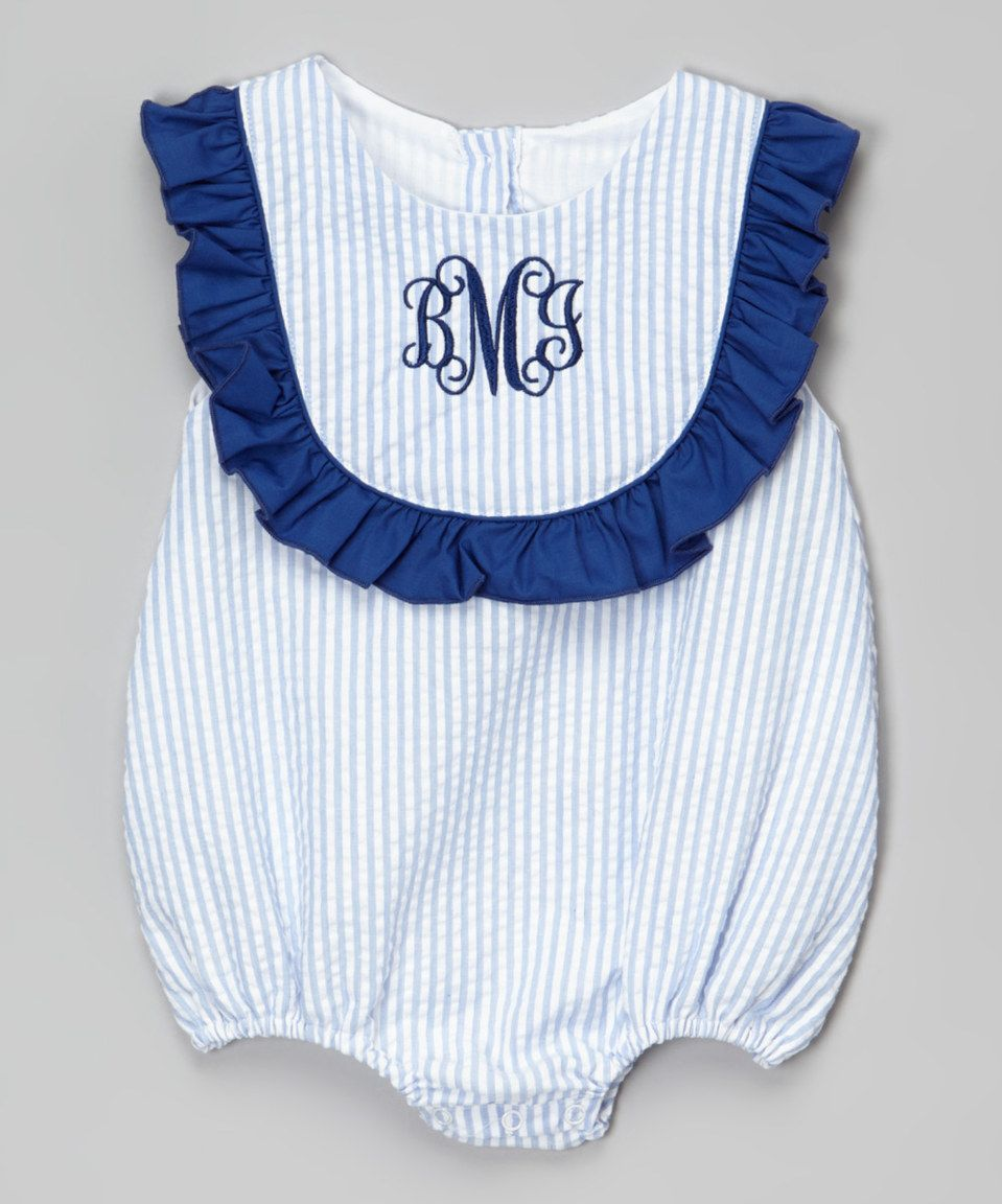 79b7a7b1a38 Blue Seersucker Monogram Bubble Bodysuit - Infant   Toddler by Smocked or  Not  zulilyfinds