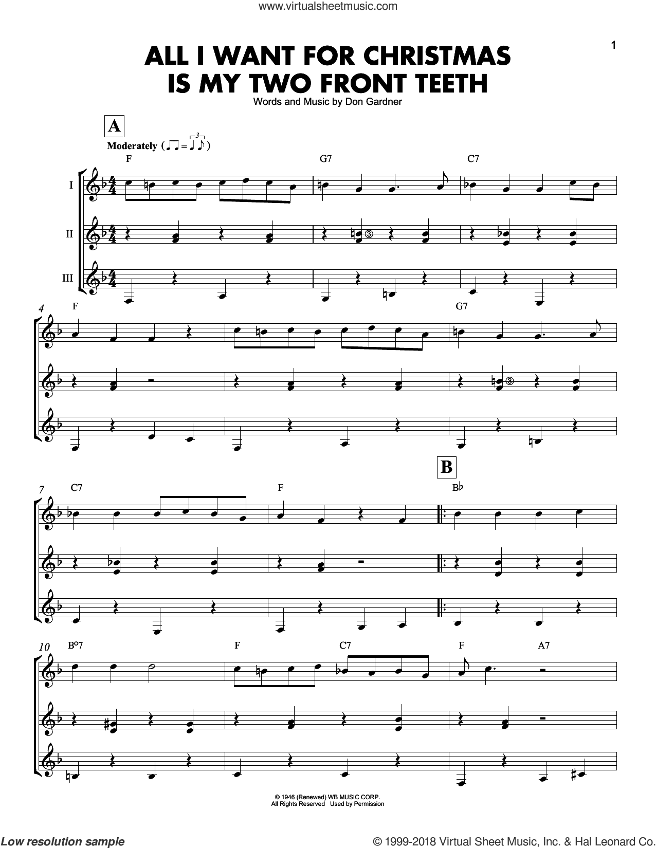 Slickers All I Want For Christmas Is My Two Front Teeth Sheet Music For Guitar Ensemble Christmas Sheet Music Sheet Music Music