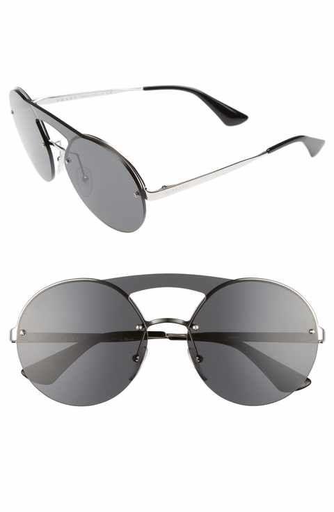 e6c57c5022 Prada 60mm Round Rimless Sunglasses