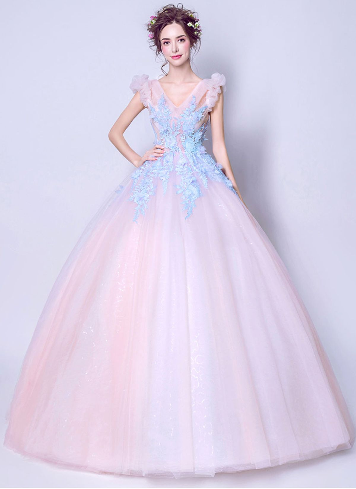 Unique pink tulle long puffy sleeves prom dress prom dress