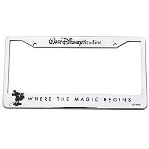 walt disney studios mickey mouse license plate frame chrome - Disney License Plate Frame