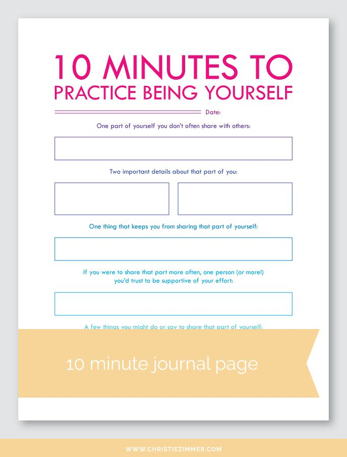 Practice Being Yourself Printable Journal Page — Christie Zimmer