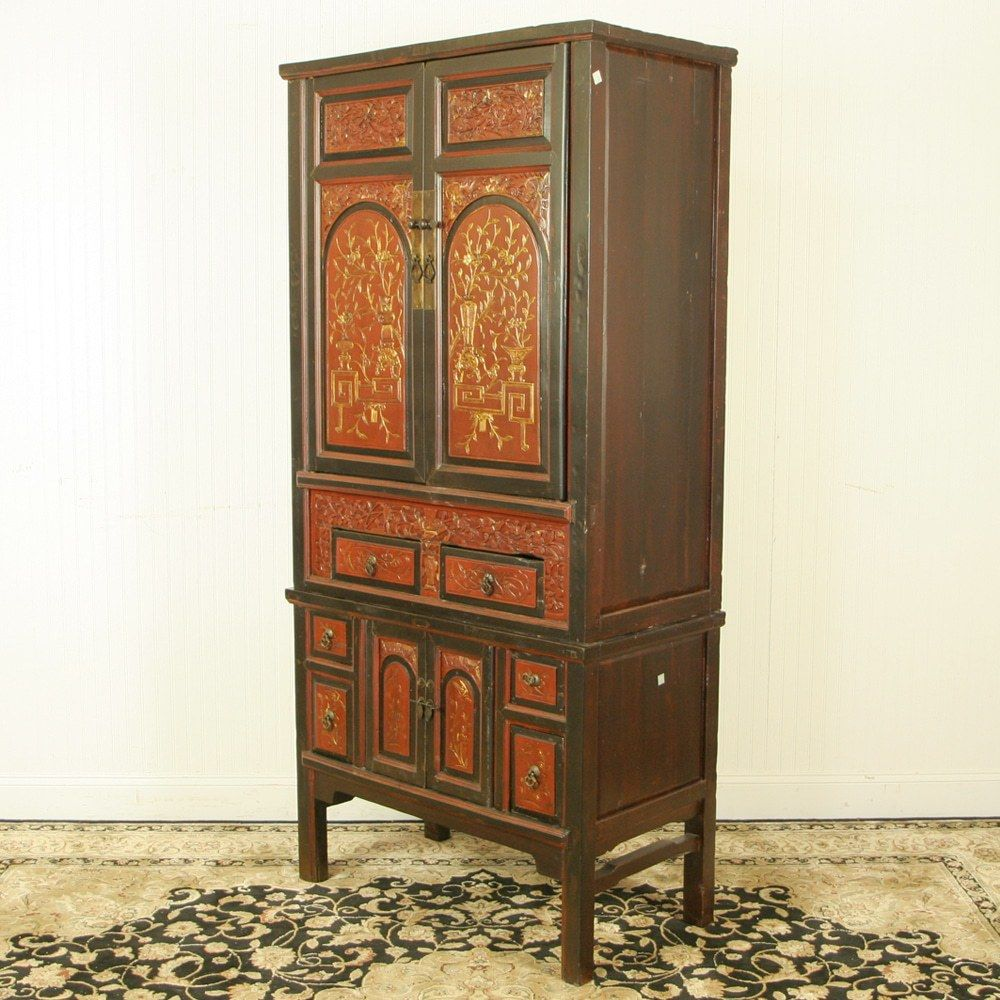e9db32c3c Antique Chinese Wedding Wardrobe Cabinet Red Brown Gold . This beautiful  37