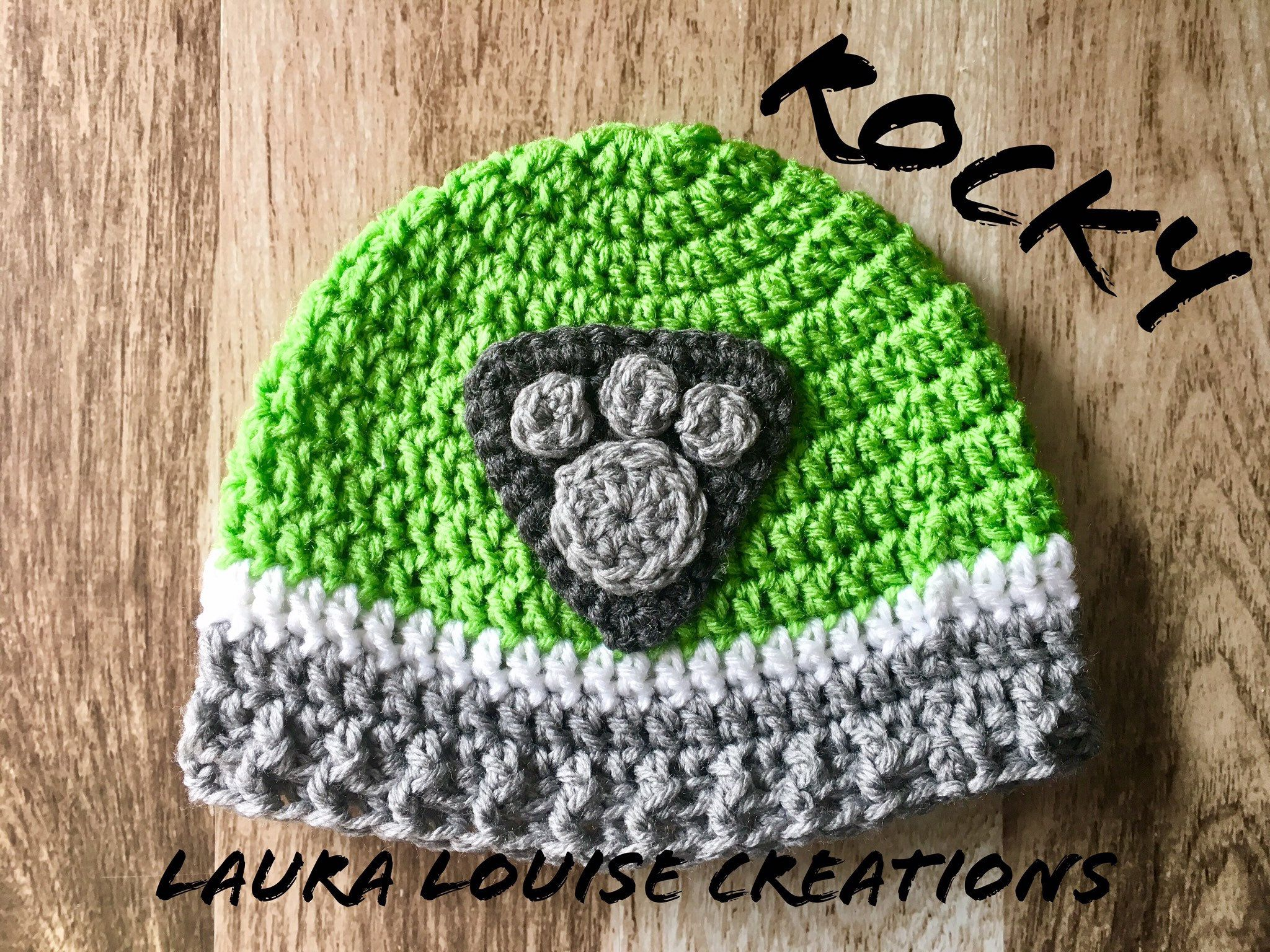 "Rocky   Paw Patrol Hat Pattern  PDF Download  Pattern Only - Hat pattern, Crochet hat pattern, Paw patrol hat, Crochet, Crochet hats, Pattern - Do you have a paw Patrol Lover in your house !  Have your little pup ""Ready for Action!"" with this cute crochet hat pattern  This hat is handcrafted and designed with comfort and warmth in mind   All patterns written in standard US terms  4 sizes toddler, child, teen & adult   You can always contact me if you have any problems with the pattern  I am happy to help if you have any questions along the way  There is no shipping charge for this item as it is a PDF file and will be sent out within 24 hours of payment  If you don't receive it within 24 hours, please, contact me  Price is for the PATTERN only, not the finished product  These patterns are copyright Laura Louise Creations © so PLEASE DO NOT COPY, SHARE, ADJUST OR RESELL MY PATTERN  I wrote and tested this pattern myself, from beginning to end  It took a lot of time and work, and I would really like to have it remain ""my pattern "" If you have any questions with my patterns please feel free to contact me  Thank you, much love, Laura"