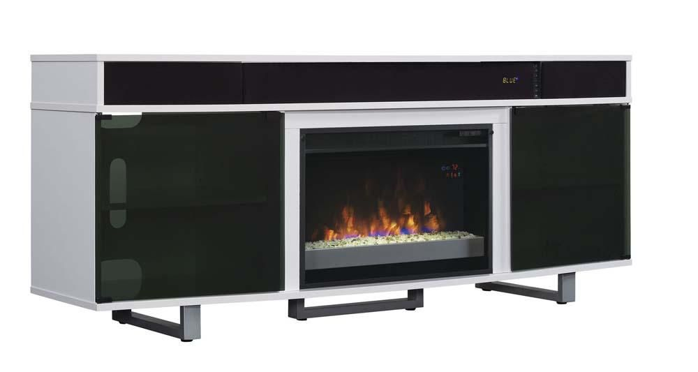 Enterprise Cabinet With Built In Sound Bar And Fireplace White