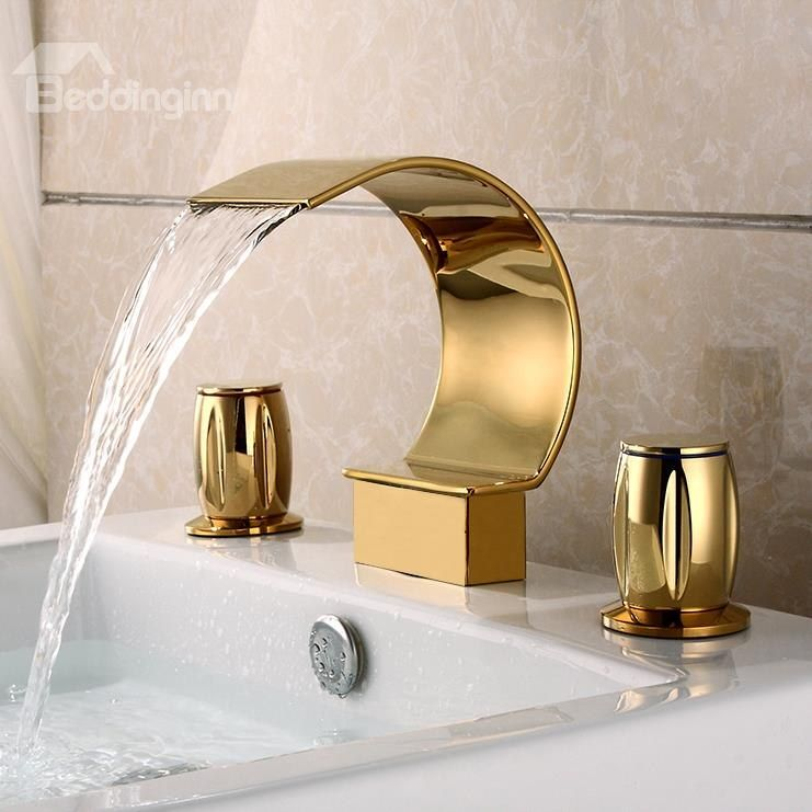 Golden Double Handles Widespread Waterfall Faucet - beddinginn.com