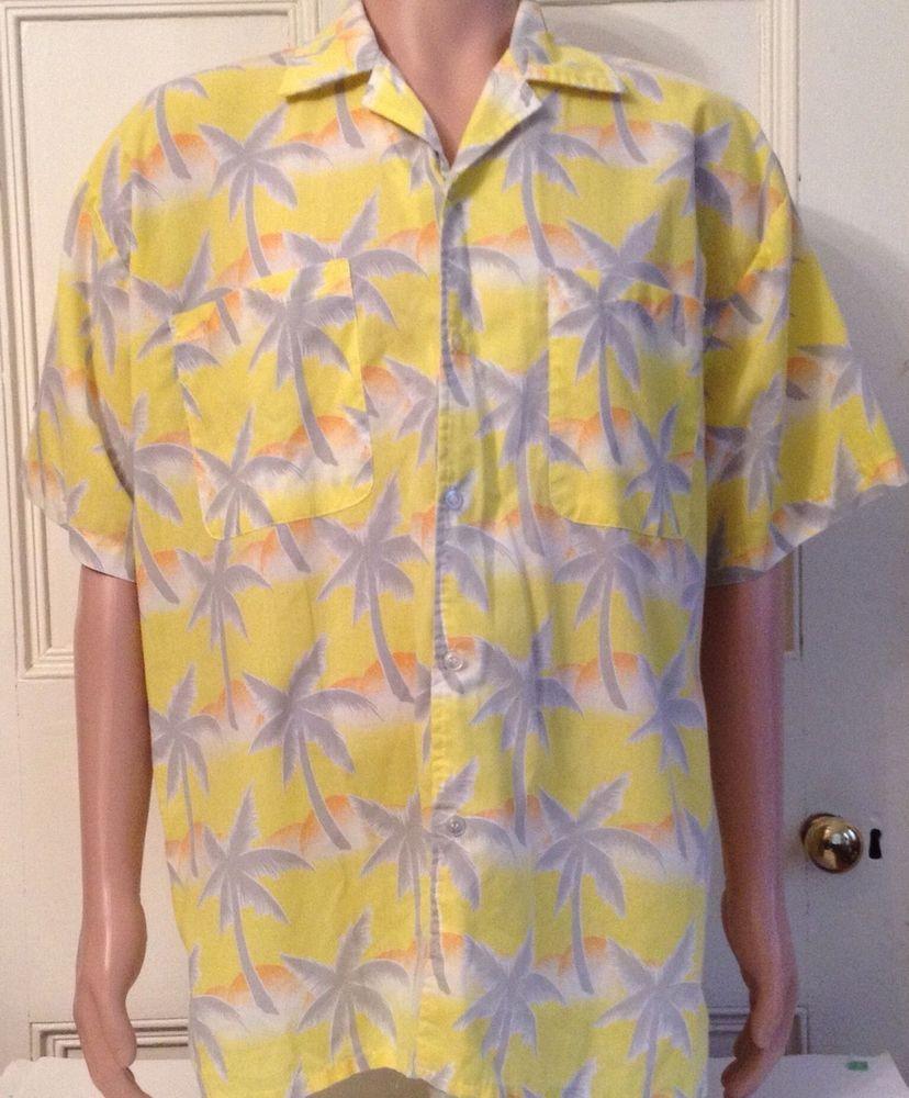 c80791ed Mens Vintage Hawaiian Shirt Size XL Tropicana Yellow Tropical Poly Cotton  Taiwan #Tropicana #Hawaiian #Casual