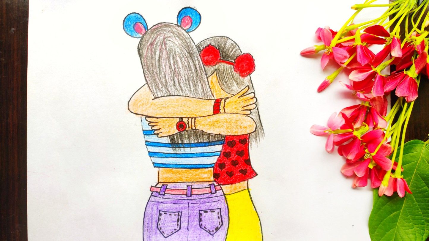 National Best Friend Day Drawing Best Friend Sketch Drawing How To Draw Two Friends Hugging Friends Sketch Best Friend Sketches Drawings Of Friends