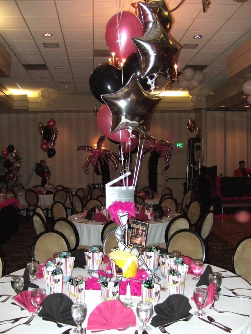Centerpiece ideas for hollywood party helium tanks