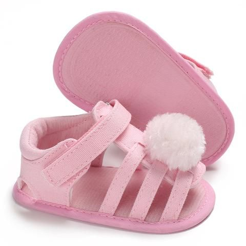 7dcbae3ee4ed2 Raise Young Summer Canvas Baby Girl Sandals Furball Soft Soles Non-slip Toddler  Girl Princess Shoes Newborn Infant Footwear
