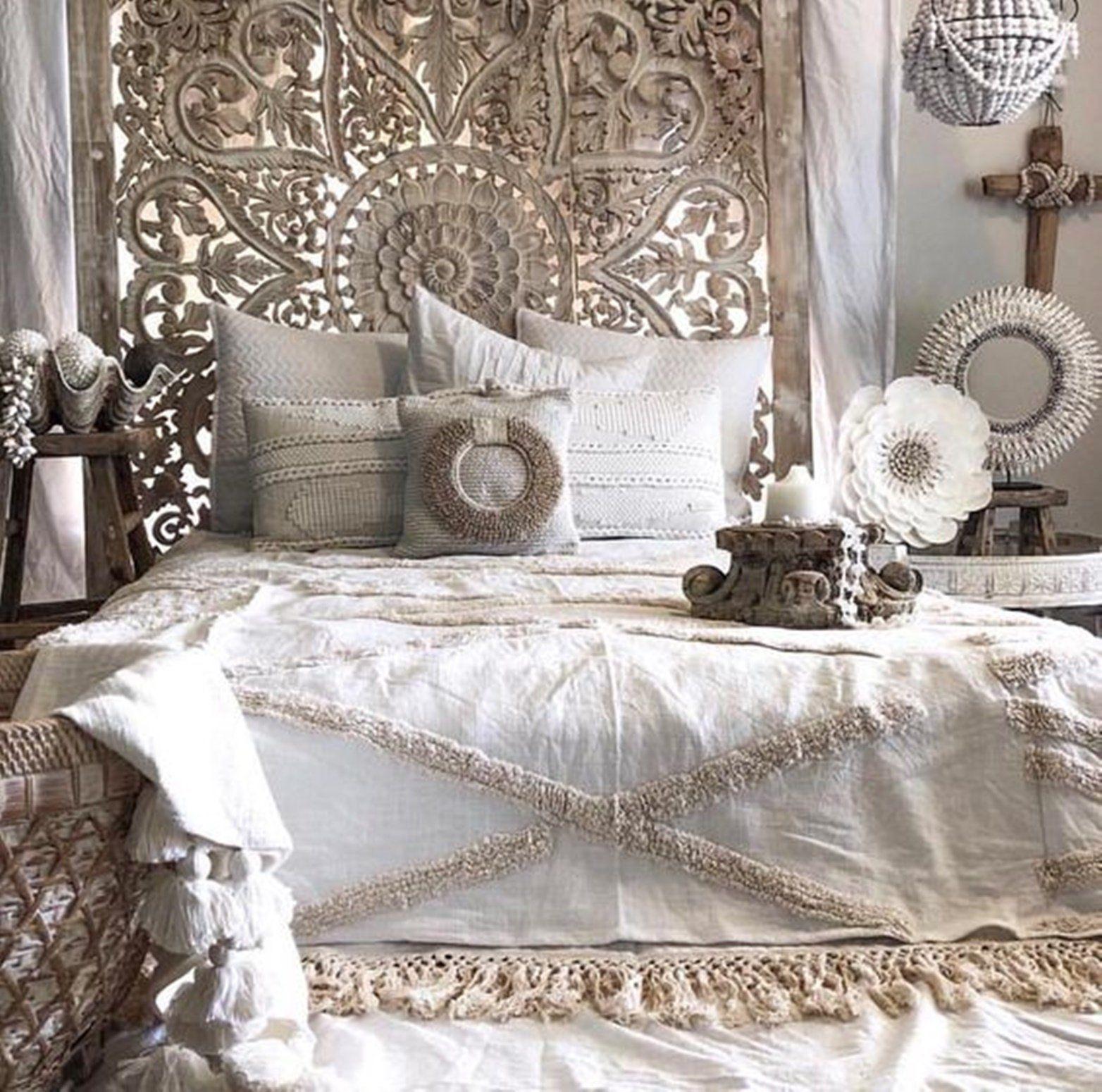 71 Large Wall Art King Size Bed Sculpture Bohemian Headboard Decorative Flower Mandala Wooden Hand Craved Teak Wood Panel White Bohemian Bedroom Design White Paneling Bedroom Design