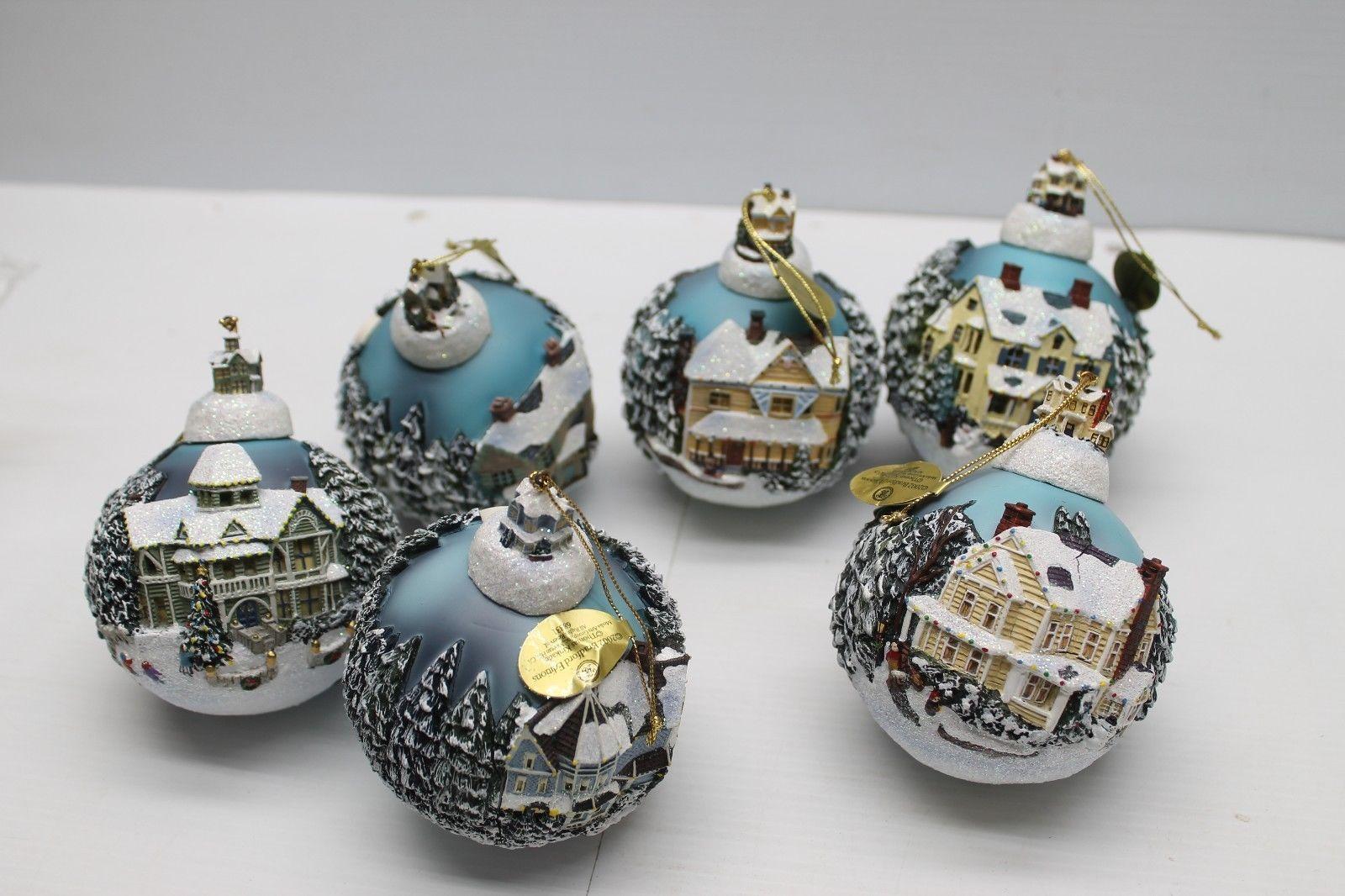 Kinkade christmas ornaments - Thomas Kinkade Christmas Classics Bradford Exchange Ornaments Lot 9