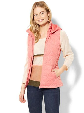 Shop Quilted Knit Hooded Vest. Find your perfect size online at the best price at New York & Company.