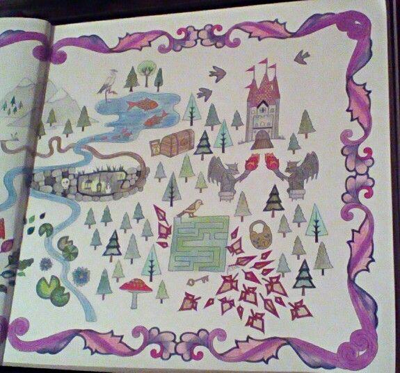 Johanna Basford Enchanted Forest Map Close Up Of The Rabbit Hole