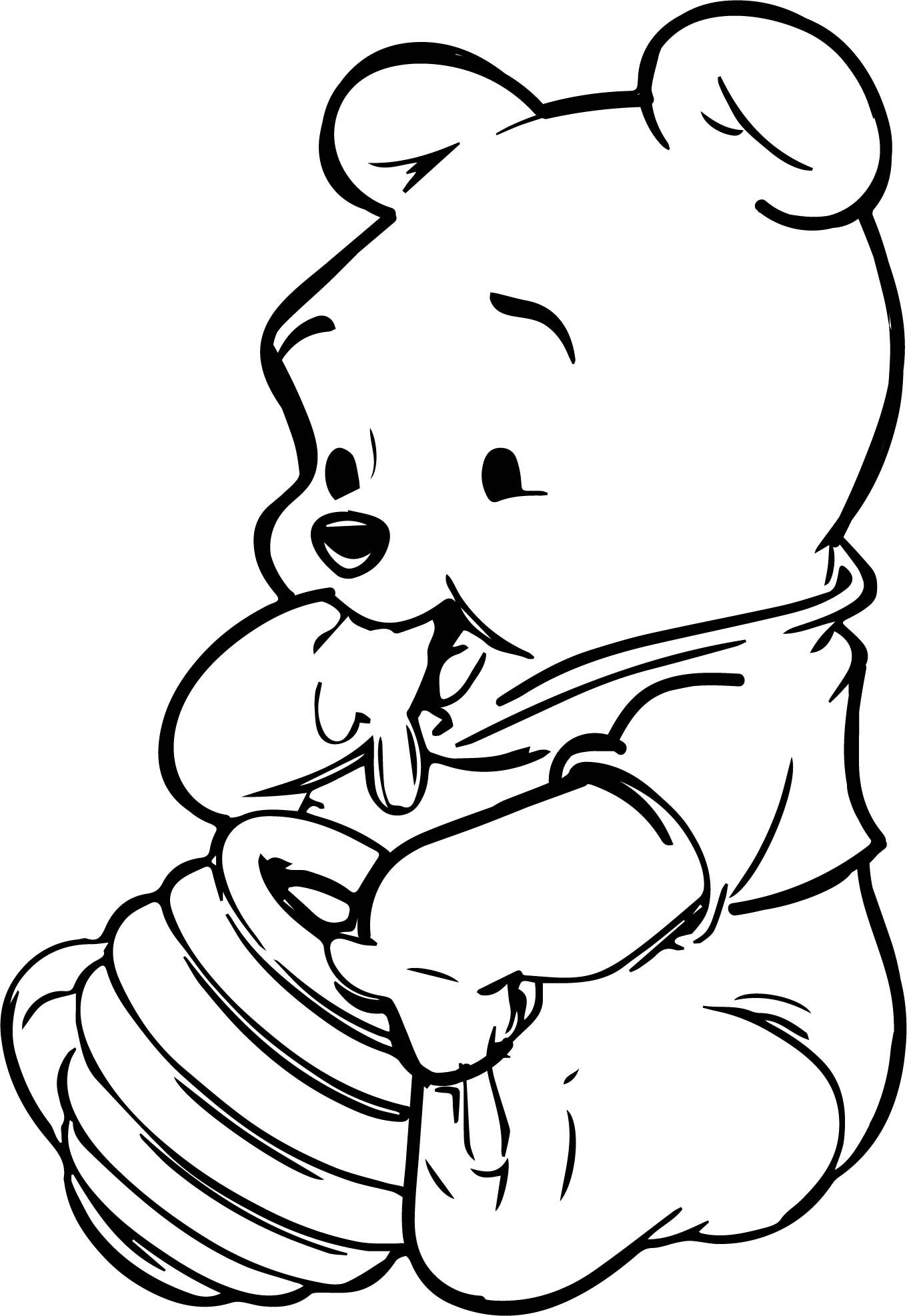 Cool Baby Winnie The Pooh Honey Coloring Page