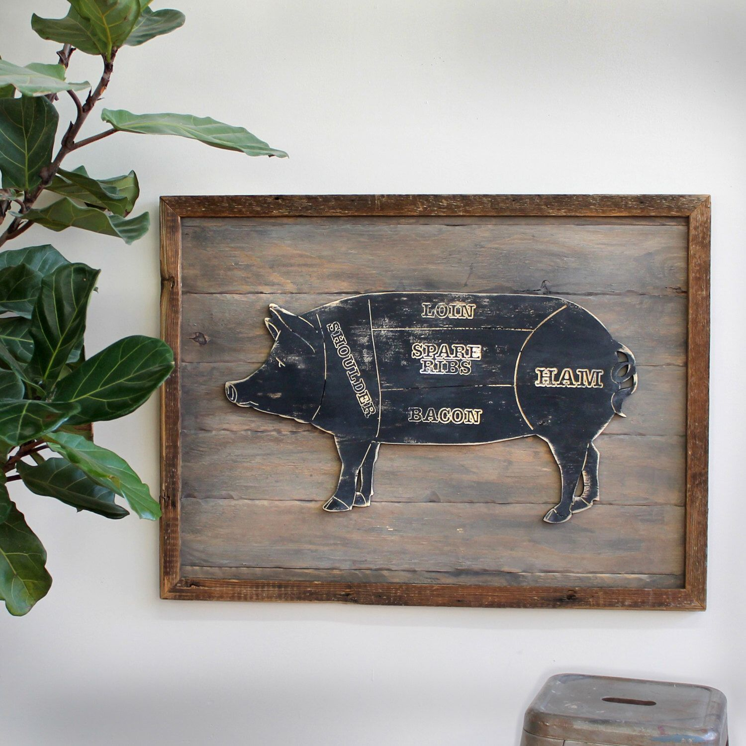 Butcher Pig Art Wooden Framed Butcher Shop Meat Chart Kitchen Wall