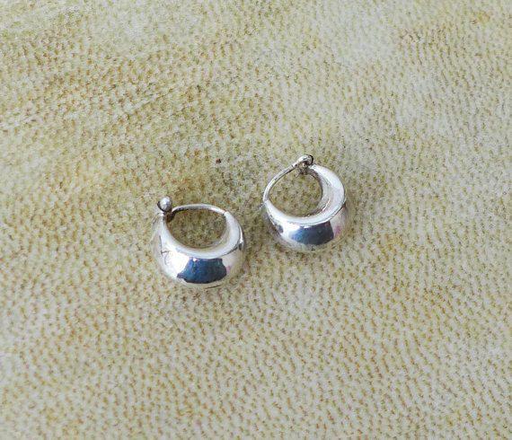 Silver Fat Hoop Earrings Small Hoops Sterling Chubby Gypsy Boho Indian Tribal