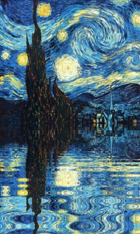 Phone wallpaper Starry Night Van Gogh Fondo de arte