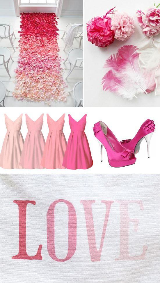 Wedding Ceremony Inspiration Board Featuring Pink Ombre Ruffles