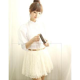 Buy Dodostyle Band-Waist Inset Shorts Lace Skirt #shortslace