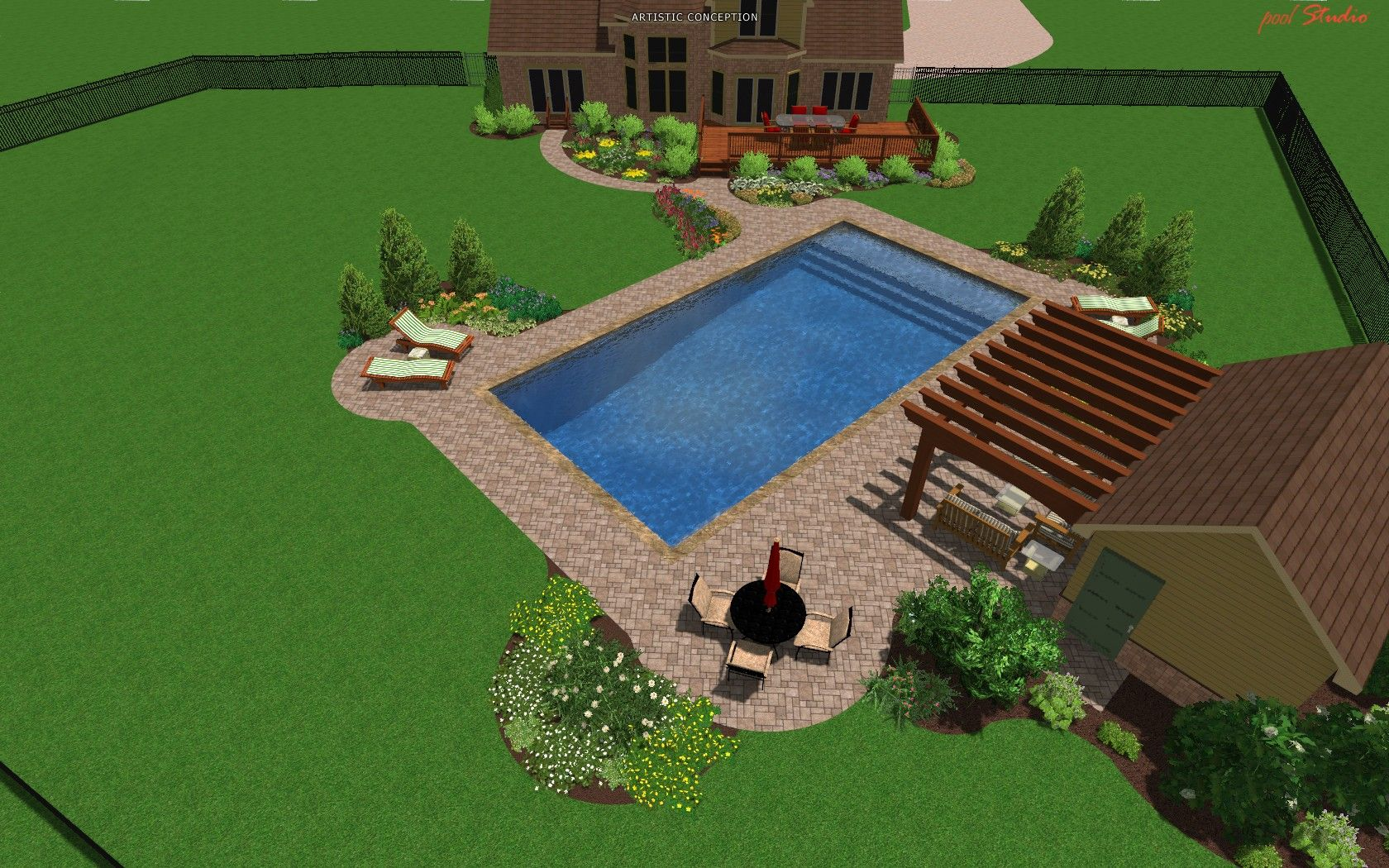 Pool landscaping ideas pool landscape design michigan for Pool landscape design