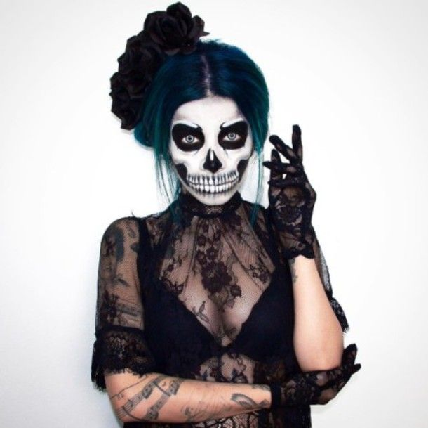 makeup lace black lace witch sexy halloween costume