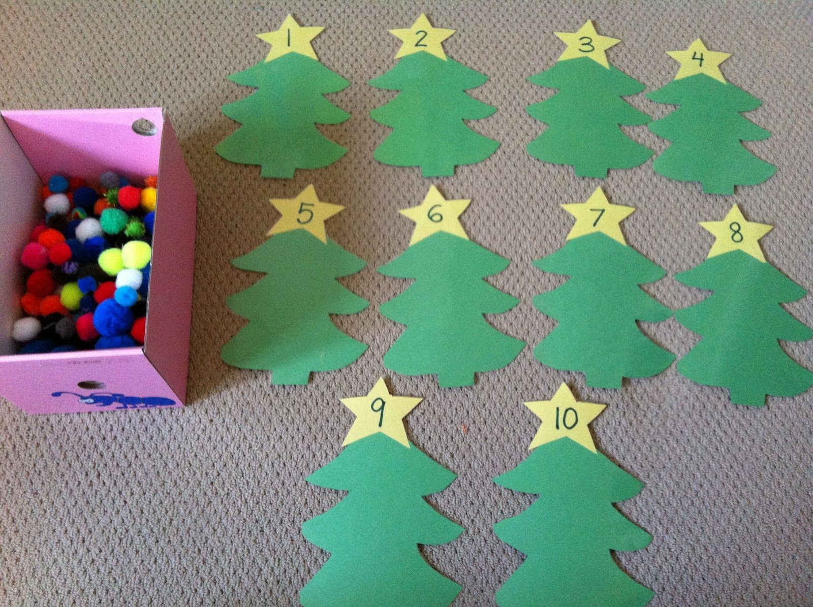 Christmas Tree Math Construction Paper Christmas Trees Numbered Stars Pom Poms