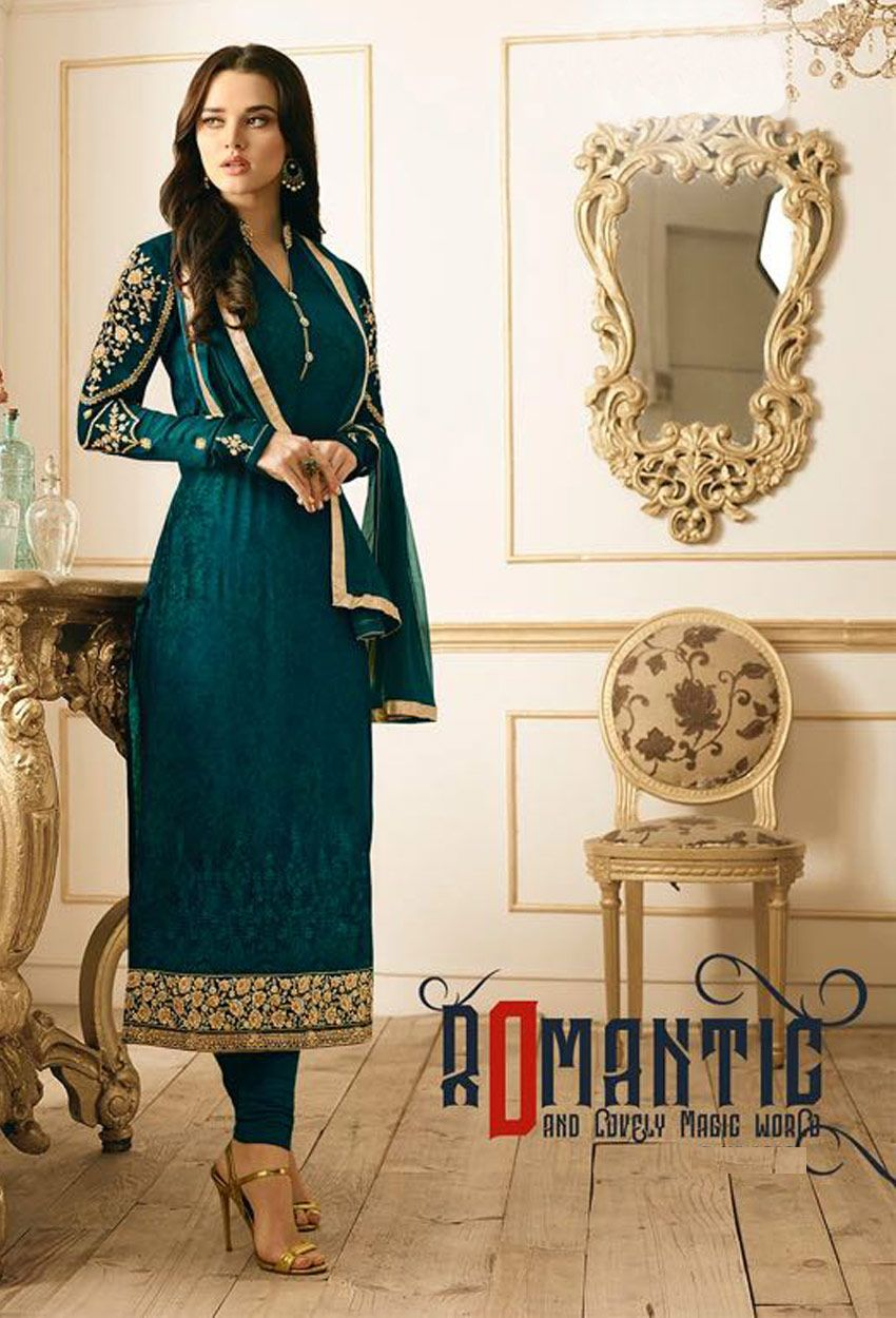 Semistitched rama green georgette straight cut suit embroidery