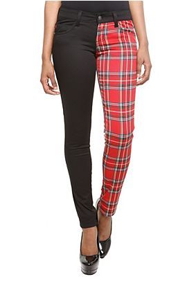 260216a8df73 I love the split leg look of these skinny's. Plain black and red plaid go  very well together. Royal Bones Red Plaid Split Leg Skinny Jeans.