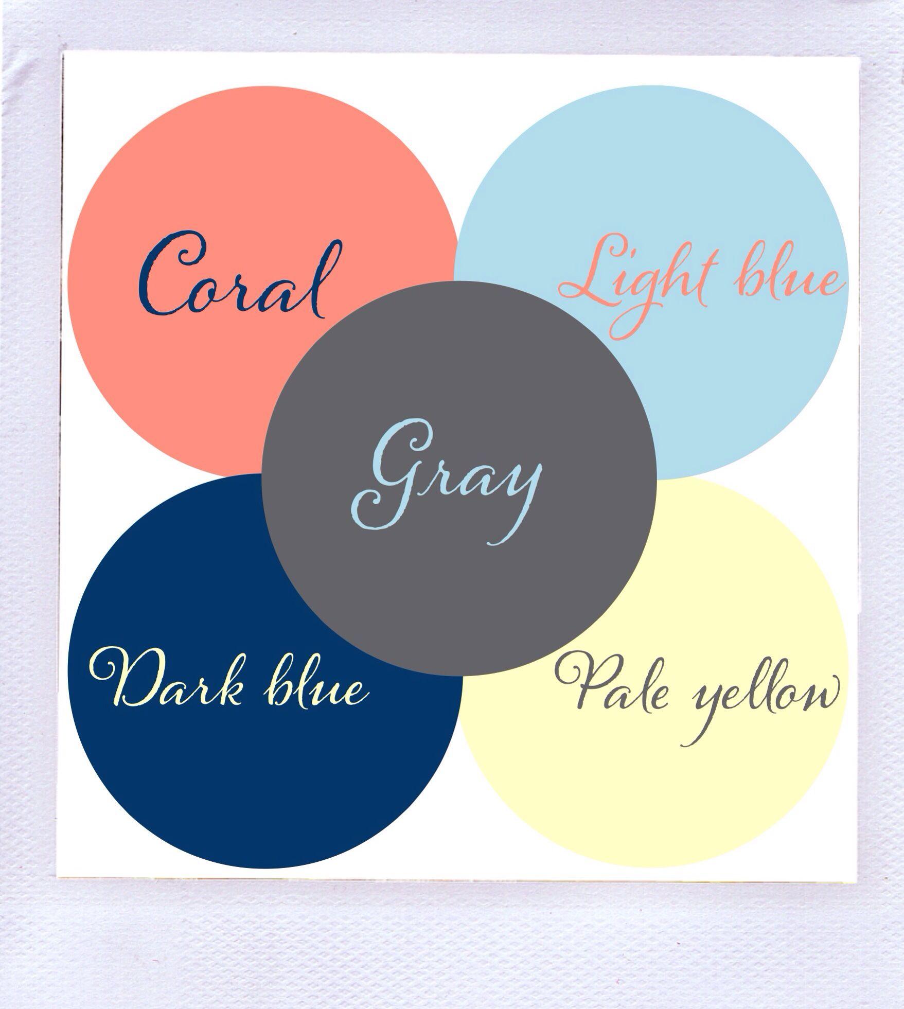 Color Scheme Gray Dark Blue Light Blue Coral Pale Yellow
