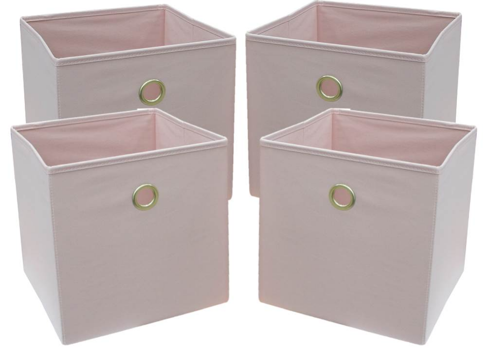 Mainstays Collapsible Fabric Cube Storage Bins 10 5 X 10 5 4 Pack Pearl Blush Walmart Com Cube Storage Bins Fabric Storage Bins Cube Storage
