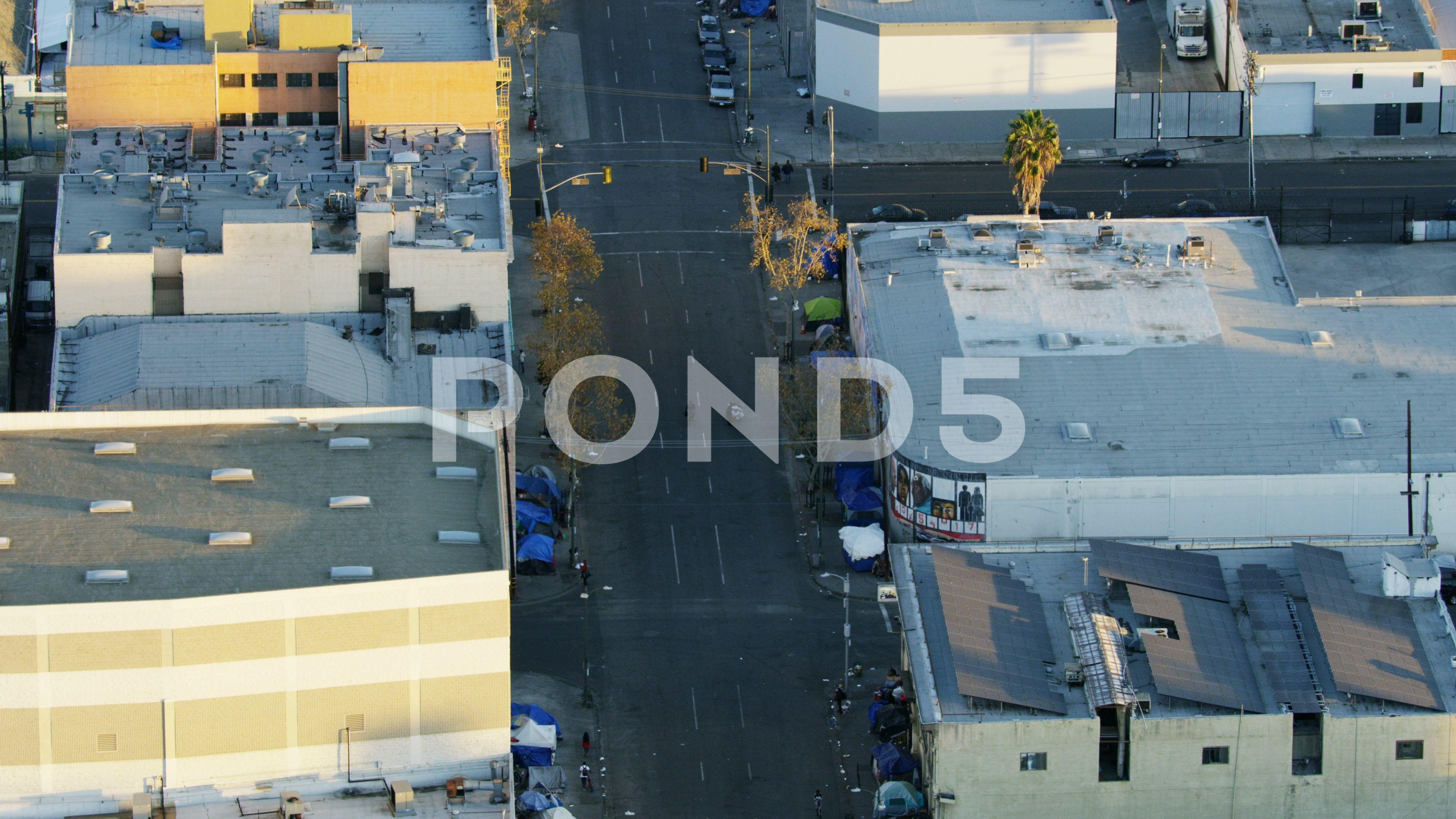 Aerial Skid Row Tent City Homeless People La Stock Footage Ad Tent City Row Aerial Skid Row City Aerial