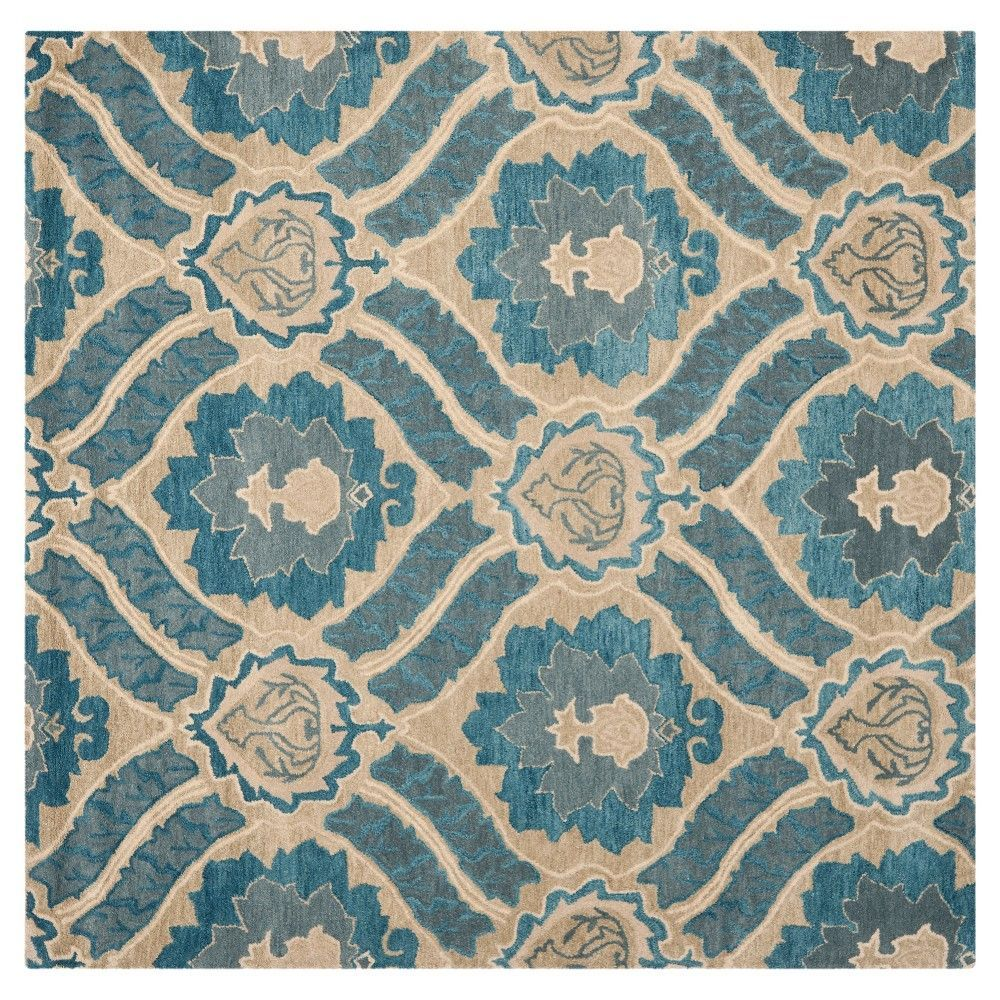 Blue/Grey Abstract Loomed Square Area Rug - (7'X7') - Safavieh
