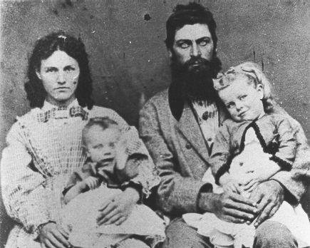 Thomas Foster Young (1829-1867) & Mahala Jane Marsh (1834-1920) with children Mary Catherine (1853- ) & Benjamin Albert (1855-1932), c. 1856
