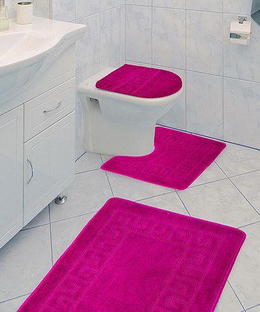 Love This Fuchsia Greek Key Three Piece Bathroom Rug Set On #zulily! #