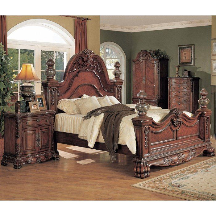 Valencia Carved Wood Traditional Bedroom Furniture Set 209000: Kelsey Dark Cherry Bedroom Set With Post Bed