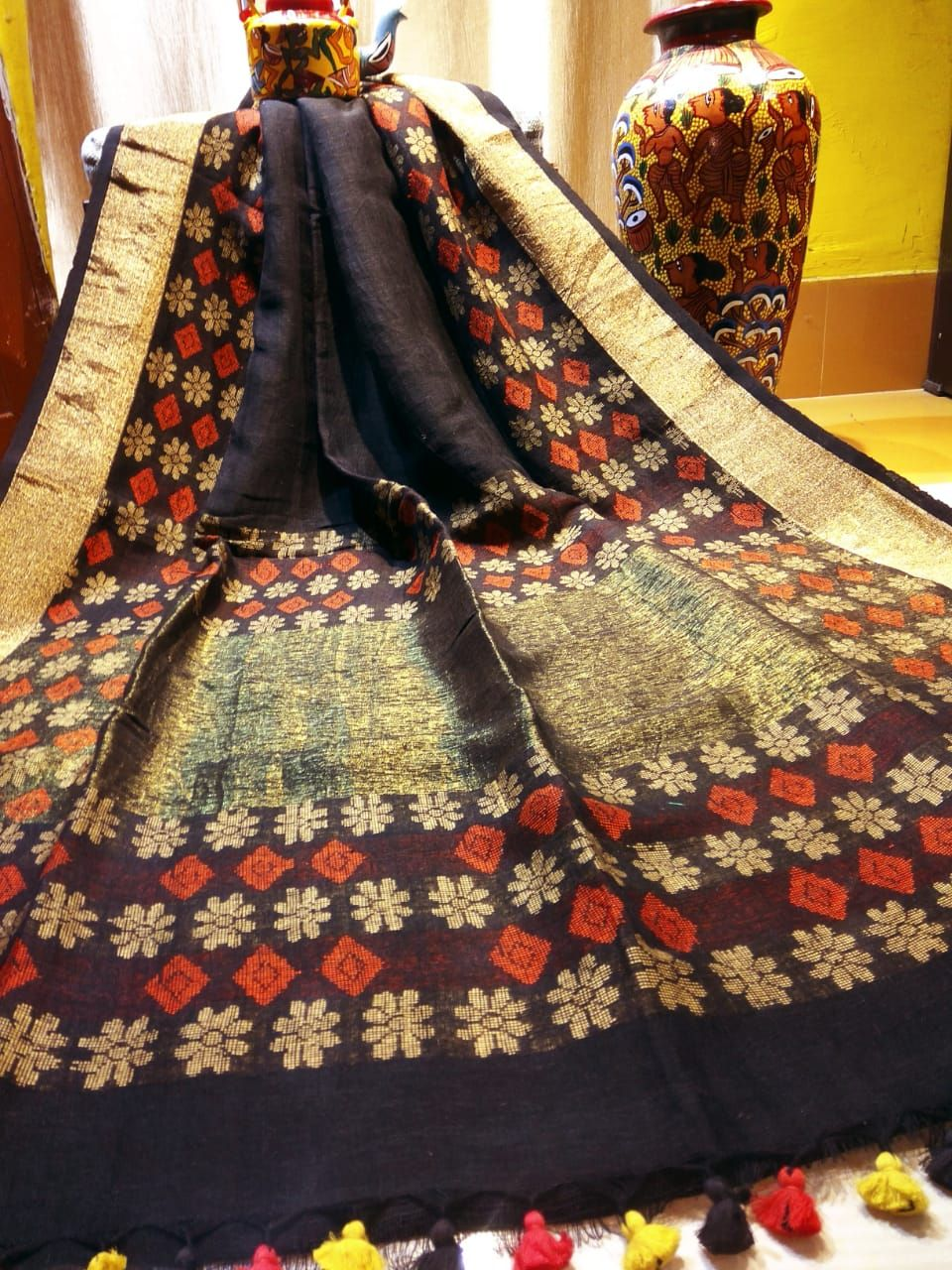 Pure silk saree 2018 introducing manipuri hand woven pure  count linen sarees