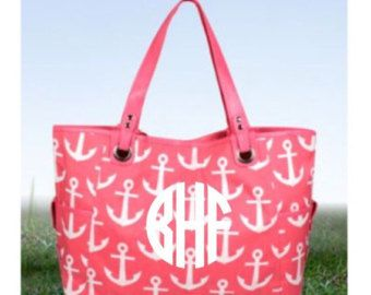 Oversized Anchor Tote Bag with FREE Monogram - Pink or Turquoise - Edit Listing - Etsy