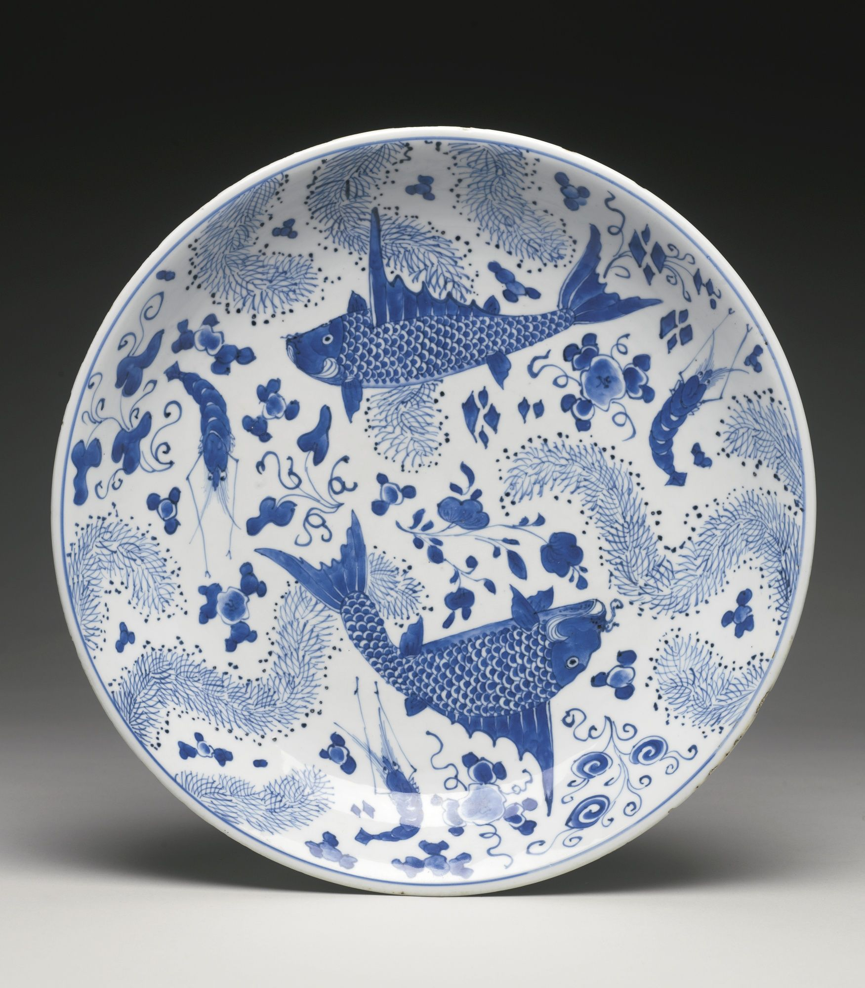 Jp A Blue And White Fish And Waterweed Dish Qing Dynasty Kangxi Period เคร องป นด นเผา