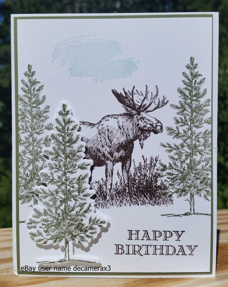 BIRTHDAY HANDMADE CARD KIT STAMPIN UP WALK IN THE WILD MOOSE LOVELY AS A TREE