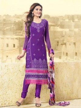 Purple Georgette Suit With Resham Embroidery Work www.saree.com