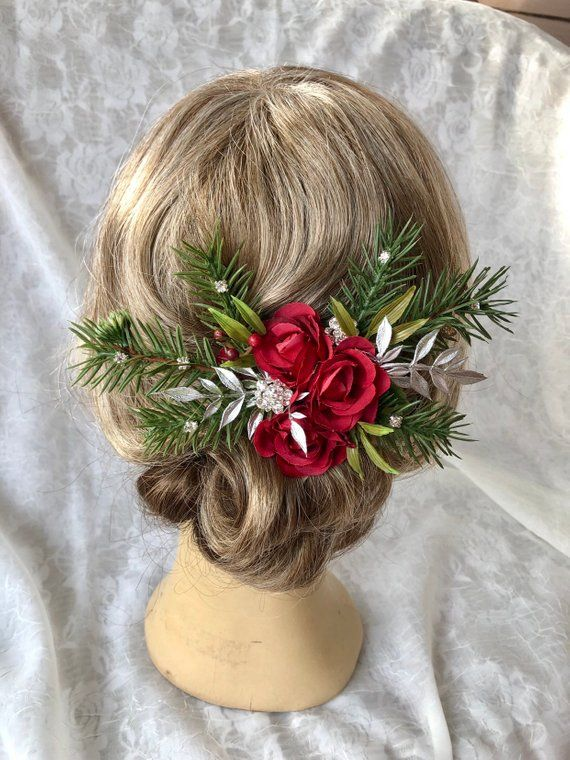 Christmas hair clip,red roses and fir branches,