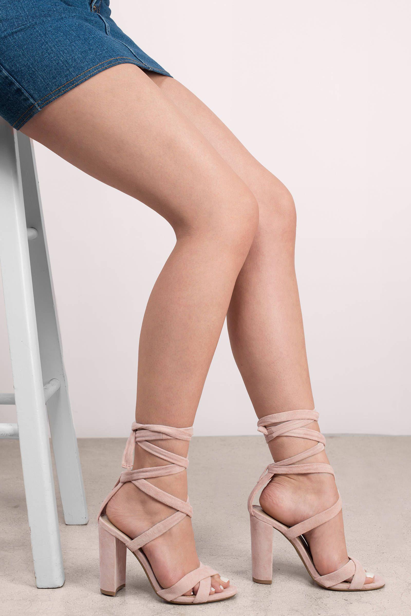 Pink suede heels, Lace up heels