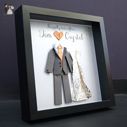 Personalized Wedding Gift,, First Anniversary Gift, Engagement, Bridal Shower Paper Origami Bride & Groom Shadowbox Frame Custom Wall Art Gift - Wedding gifts for the couple (*Amazon Partner-Link)