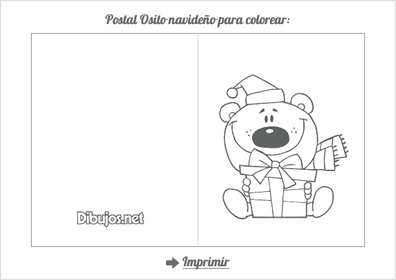 Postal De Navidad Para Colorear Osito Navideño Manualidades