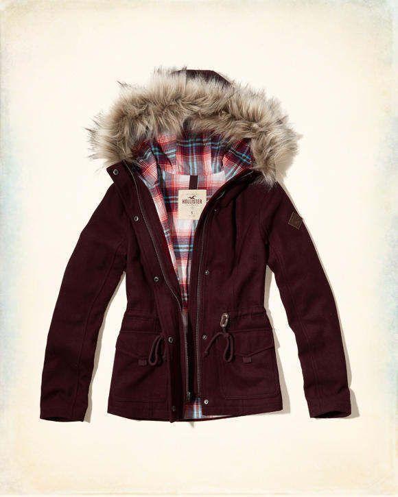 Hollister WOOL Anorak Jacket Coat Burgundy Flannel Lining Women's Large L