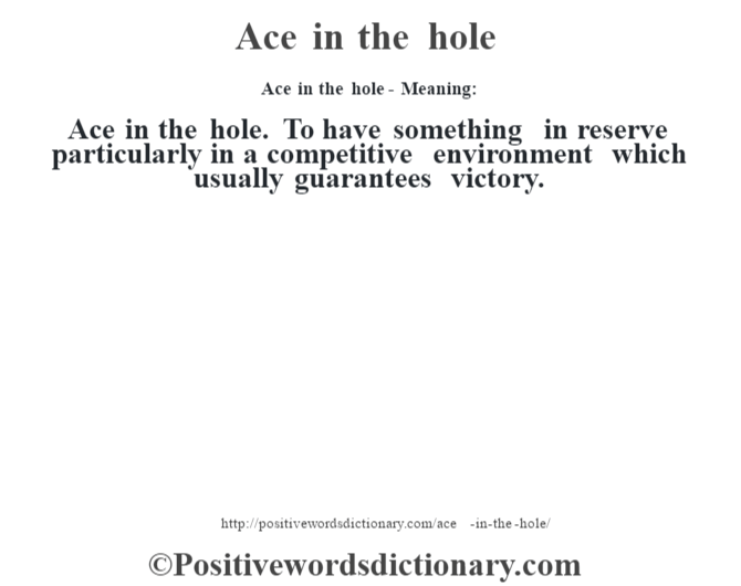Ace In The Hole Positive Words Positive Adjectives Words