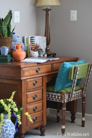 A DIY stenciled thrift store chair using the Indian Inlay stencil kit for a bone inlay look. http://www.cuttingedgestencils.com/indian-inlay-stencil-furniture.html