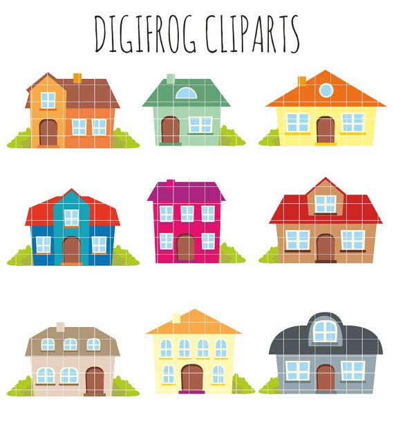 Colourful houses clipart cartoon buildings cute houses by