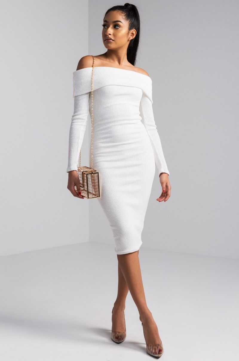 a18a6a7186c9 WELCOME BACK WHITE OFF SHOULDER MIDI DRESS